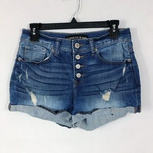 ! Express | Exposed Button Fly Ripped Jean Shorts